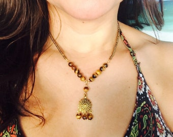 Tigers Eye Chadelier Necklace.