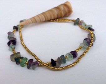 Fluorite Beaded Beach Anklet.
