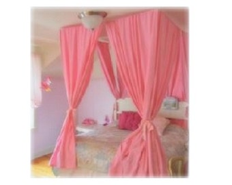 Twin Size Canopy Hardware Kit - Ceiling Suspended Hanging Four Poster Curtain Frame Princess Crown Drapery  sc 1 st  Etsy & Twin Bed Canopy With Chiffon Curtains Four Poster Bed Panels