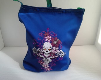 Blue Skull with Ace cards bag