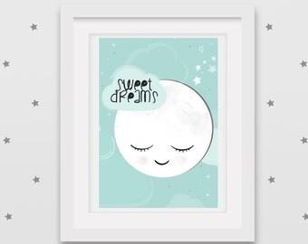 Sleepy moon printable A4 poster - Mint 'Sweet Dreams' nursery artwork - INSTANT DOWNLOAD