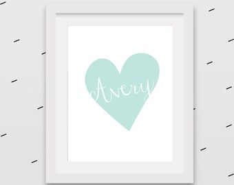 Heart with name in it personalized wall art for girls room or nursery