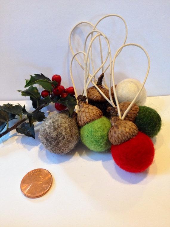 Wool felted acorns Christmas ornament set of 6