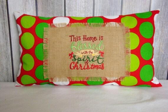Christmas Pillow. Holiday Pillow. Red Green Pillow. 14x24 Pillow Cover. Pillow Cover. Pillows. Accent Pillow. Burlap Pillow
