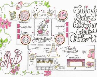 Venue Map, Venue Guide, Wedding Reception Map, Reception Guide