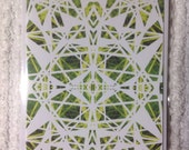 Lime Yellow Crystal, Digitally Designed and Printed, Christmas Card, Birthday Card, Greetings Card, Blank in side.