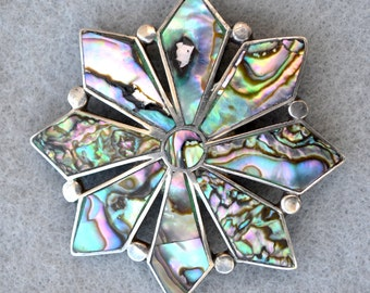 Talleres de Los Ballesteros Sterling Abalone Early Brooch or Pendant Vintage