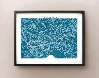 Tirana Map Print - Albania Poster - Albanian Modern Abstract Wall Art
