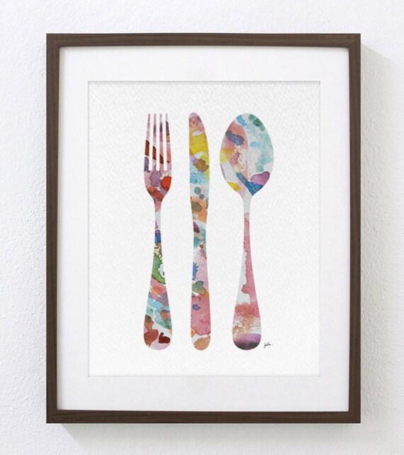 Colorful Kitchen Wall Art: Colorful Fork Knife Spoon Modern Kitchen Art Print