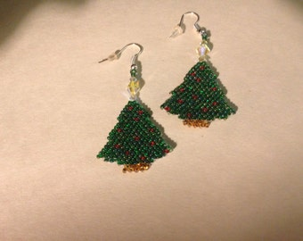Festive holiday tree earrings