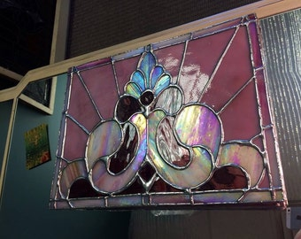 Orchid Pink And Purple Stained Glass Flower Panel By