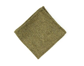 The Herringbone Tweed - green tweed pocket square in 100% Scottish wool