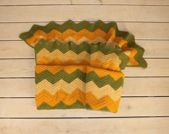 Retro Zig Zag Chevron Pattern Blanket Throw Soft Feel Orange Green Yellow Hand Crochet 60's 70's Mid Century