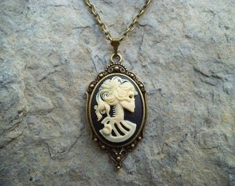 Skeleton Lady - Skull Cameo Necklace - Bronze Setting, Bronze Chain - Christams, Goth, Rockabilly, Steampunk, Halloween