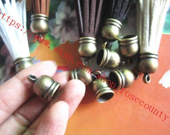 Wholesale 100pcs 18x12mm CCB Antiqued bronze Tassel Caps/end cap terminators findings