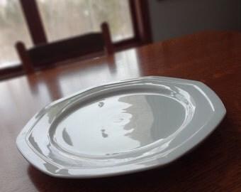 Extra Large Savoir Vivre Maison Blanche Platter,Large White Chop Plate,Y0008,12-Inch,All White Serving Pieces,Oversized,Octagonal,Minimalist