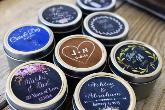 100 - Custom Candle Favor in 2oz Tins // Custom Labels - Chalkboard Design - Wedding Favors // Personalized Favor // Bohemian