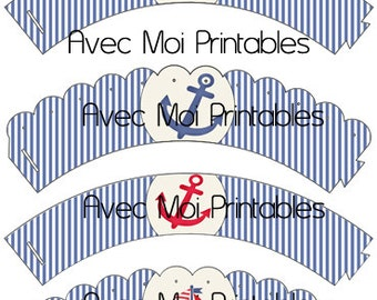 Nautical Sailboat Cupcake Wrappers Printables