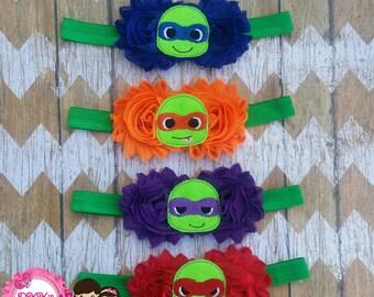 Baby TMNT headband- Ninja Turtles-Birthday-babies-Adults- Fold Over Elastic