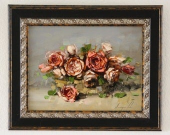 Roses original still life Oil Painting Framed Ready to hang 9 x 10 in One of a Kind