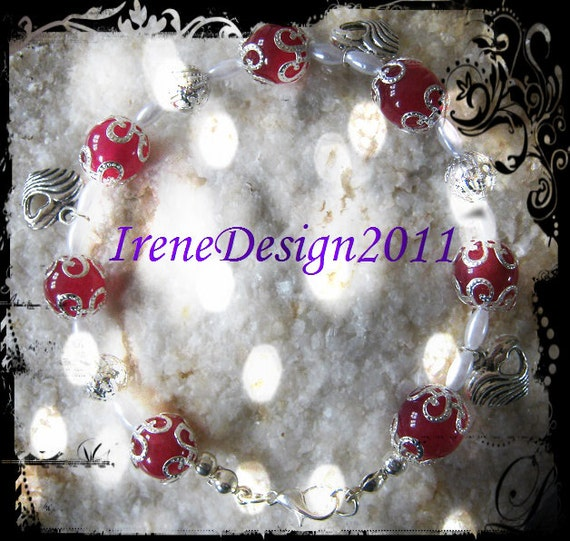 Handmade Silver Bracelet with Pink Alexandrite, White Pearls & Hearts by IreneDesign2011