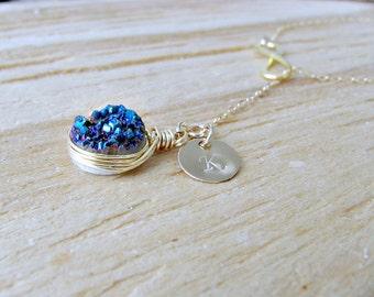 Blue Druzy Lariat Personalized Initial Lariat Infinity Lariat 14k gold filled Druzy Necklace Custom Initial blue Quartz Lariat Druzy Jewelry
