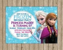 Frozen Birthday Invites- digital file 5x7