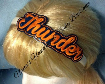 Thunder - Team Headband Slip On  - DIGITAL EMBROIDERY DESIGN