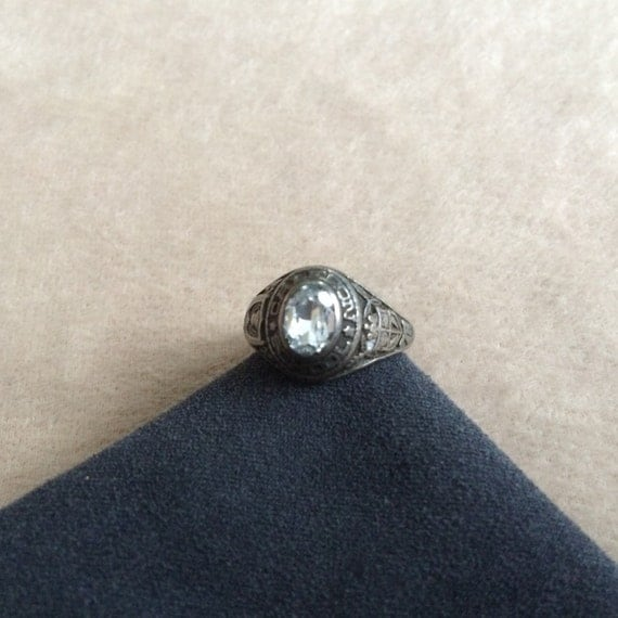 vintage deco sterling silver class ring by
