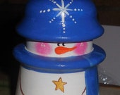 Unique BRIGHT Blue Snowman, Glass Insulator Painted to look like a Snowman, Gift, Winter, OFG, FAAP, Antique item painted with Enamel Paint