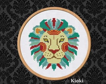 Cross Stitch Pattern Blue Leo Instant Download