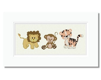 Cross Stitch Pattern Baby Lion, Tiger, Monkey, Jungle Animal, Counted X Chart Nursery Embroidery Design, Christmas PDF - INSTANT DOWNLOAD