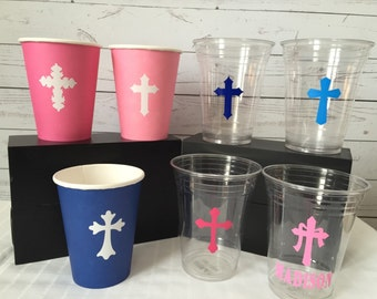 Beautiful Cross Cups and Vinyl Crosses - Perfect for Christening, baptism, communion, confirmation-Sets of 10
