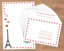 Eiffel Tower with hearts - handmade stationery // recycling paper // 10 envelopes & notepad