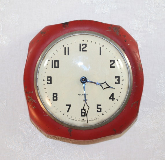 Red Gilbert Vintage Kitchen Wall Clock