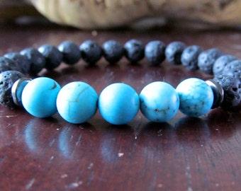 Turquoise and Lava Bead Bracelet, Mala Bracelet, Stacking Bracelet, Beaded Bracelet, Gemstone Bracelet, Turquoise Bracelet, Yoga Jewelry
