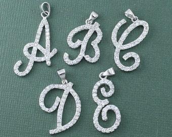 Silver Alphabet CZ Letter Pendant