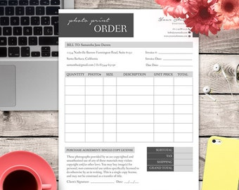 Photo Print Order Form - MsWord and Photoshop Template for Photographers - INSTANT DOWNLOAD - PPO002