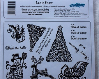 Let it Snow - A5 Unmounted Rubber Stamp Plate