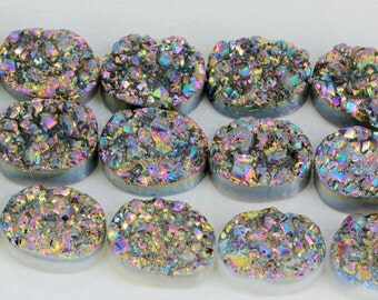 Multi Color Druzy Quartz Beads, 10.5mm x 14.5mm, Metallic Titanium Multi color, Oval Flatback Beads, Druzy Agate, Druzy, Beads KJ