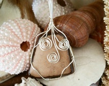 Rustic tan jasper with brown edges, wire wrapped pendant, wire wrapped necklace, stone necklace