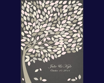 """Large Wedding Guests Signature Tree, Guestbook Alternative,  16x20"""" Print with 240 Signature Leaves, Large Guestbook Poster"""