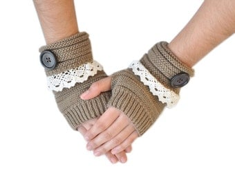 Lace Trim Button Fingerless Warmers, Fingerless Gloves, Cable Knit Gloves-Brown