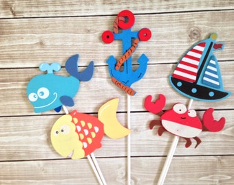 Set of 5 Nautical Centerpieces, Nautical Baby Shower Decorations, Nautical Wood Shapes