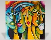 Abstract Hand Made Painting Famous People Acrylic On Canvas Ready To Hang Wall Art Large 100cm X 100 Cm