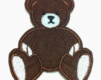 Cutie Brown Bear (6 x 7 cm) Embroidered Iron on Patch (ALW)