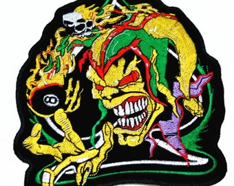 Clown Devil No.8 Black Ball (9.5 x 17.5 cm) Rock Embroidered Iron on Patch (B)