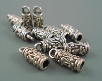 BOGO Sale, 3MM End Cap, Ten Antique Silver Ornate Caps for Leather or Cord (CAP3-002) Buy One Get One Free