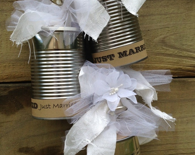 Featured listing image: Wedding Tin Cans for Just Married Newlyweds Leaving for Honeymoon or Bridal Shower Decorations or Reception Decorations Mr. & Mrs.