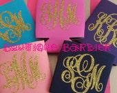 Glitter Monogram Coozies Perfect for Tailgating, Birthday and Christmas Gifts, or Big/Lil Gifts
